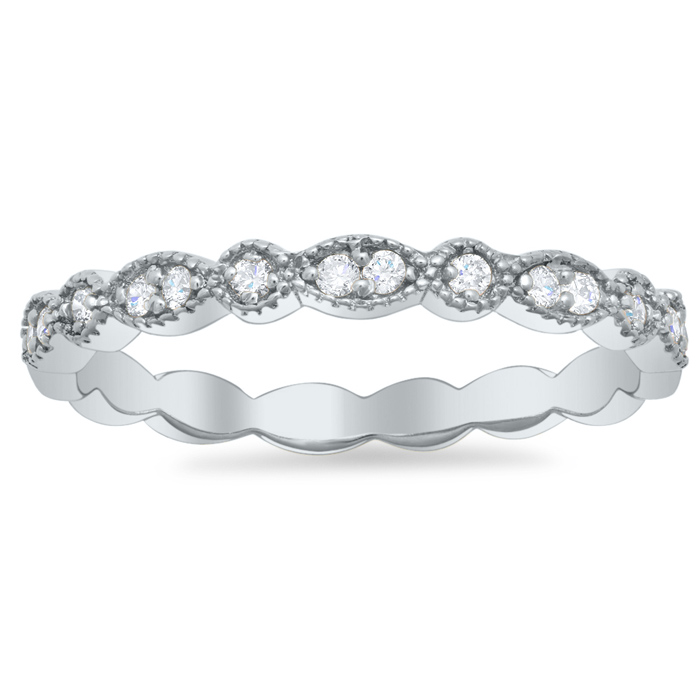 Milgrained Round And Marquise Scalloped Wedding Ring With