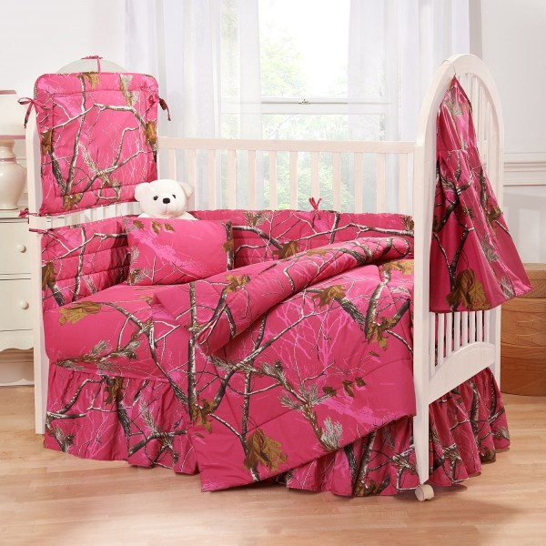 Realtree Hot Pink Fuchsia Camo Crib Bedding Set
