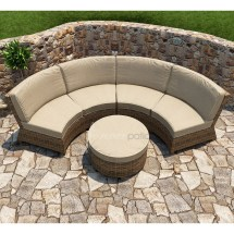Patio Cypress Wicker Curved Sectional Set 3 Pc