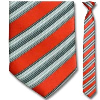 Men's SKINNY Woven Red and White Striped Clip-On Tie from ...