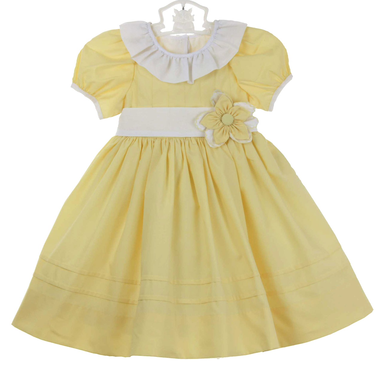 Le Za Me Yellow Dress With White Ruffled Collar And