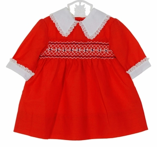 Polly Flinders Red Smocked Dress With White Collar And