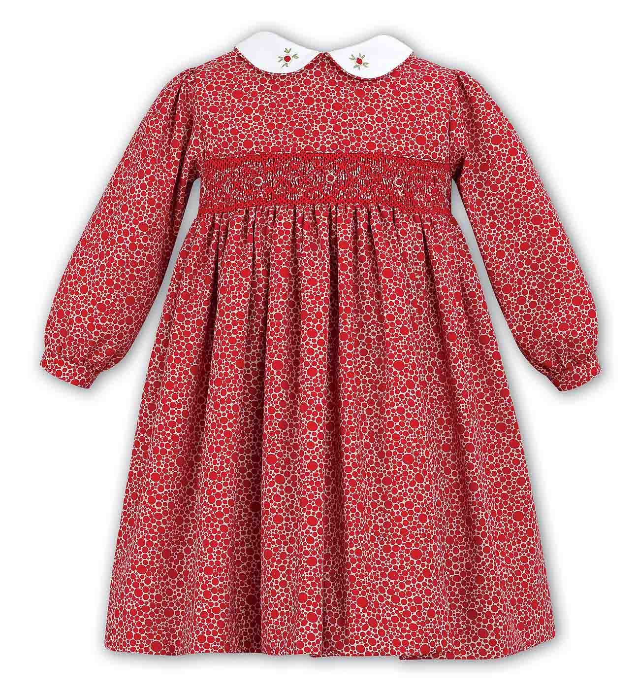 Sarah Louise Red Dotted Twill Smocked Dressred Smocked