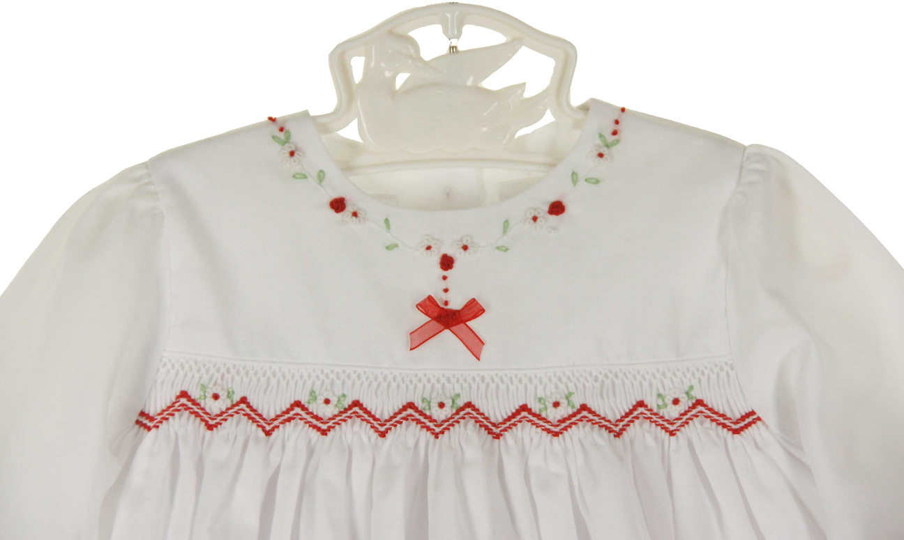 Sarah Louise White Smocked Dress With Red Embroidered