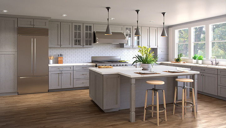 light grey inset cabinets