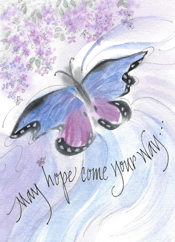 Encouragement Hope Butterfly Greeting Card Blank Inside