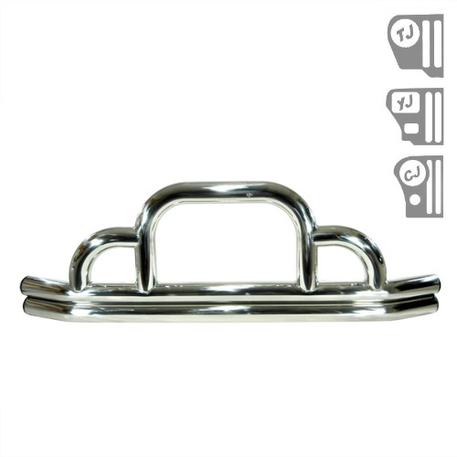 Defender Front Bumper, Stainless Steel, 55-06 Jeep CJ and