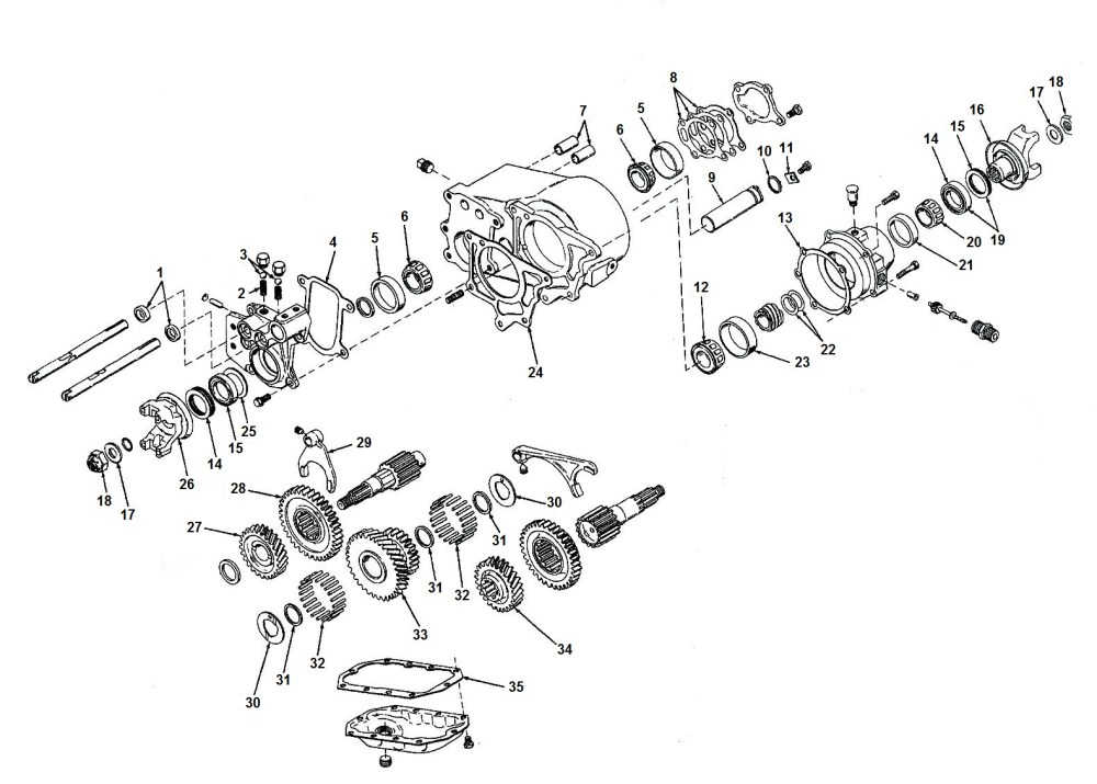 medium resolution of transfer case dana spicer 20 exploded view diagram jeep dana 20 transfer case parts