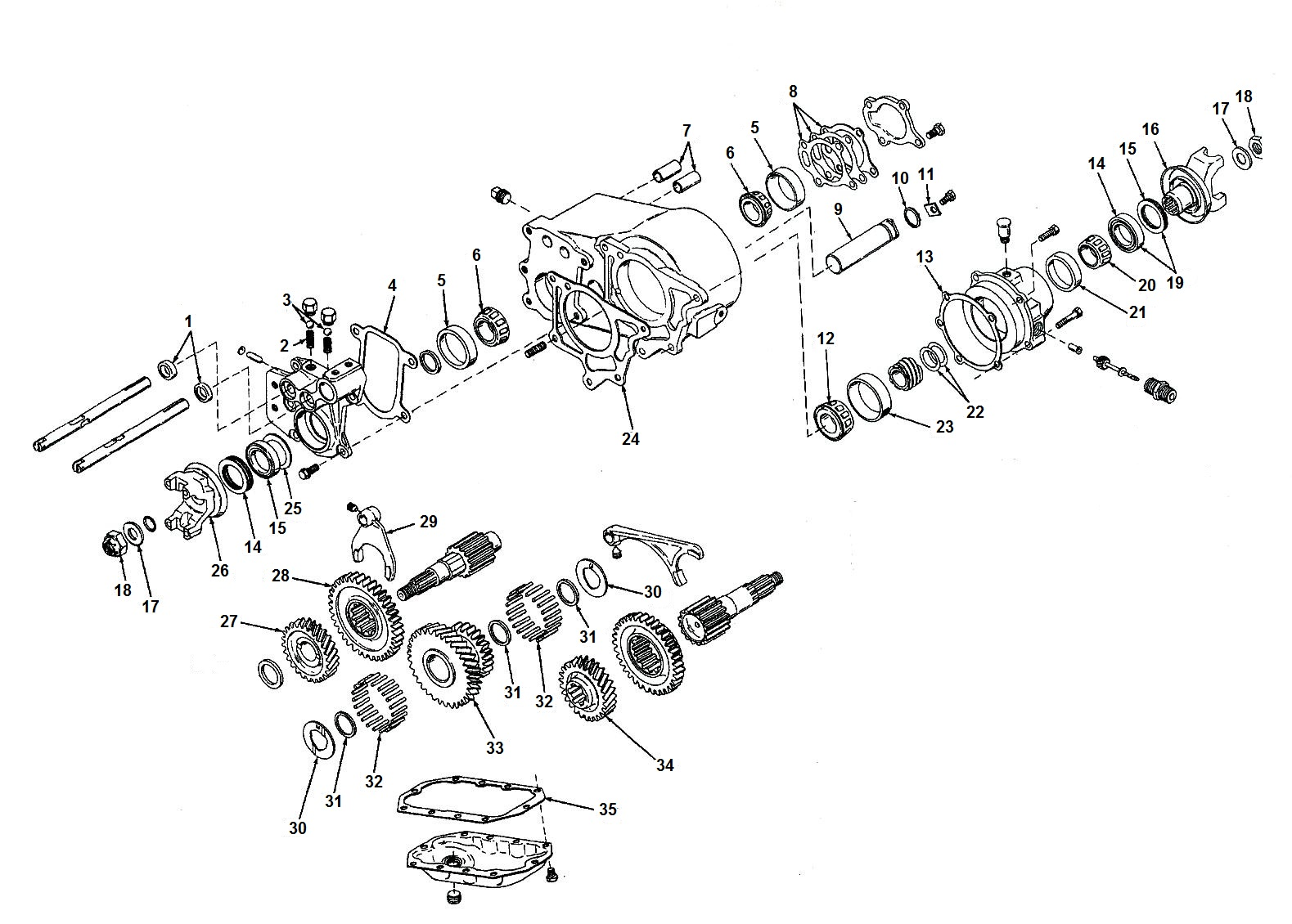 hight resolution of transfer case dana spicer 20 exploded view diagram jeep dana 20 transfer case parts