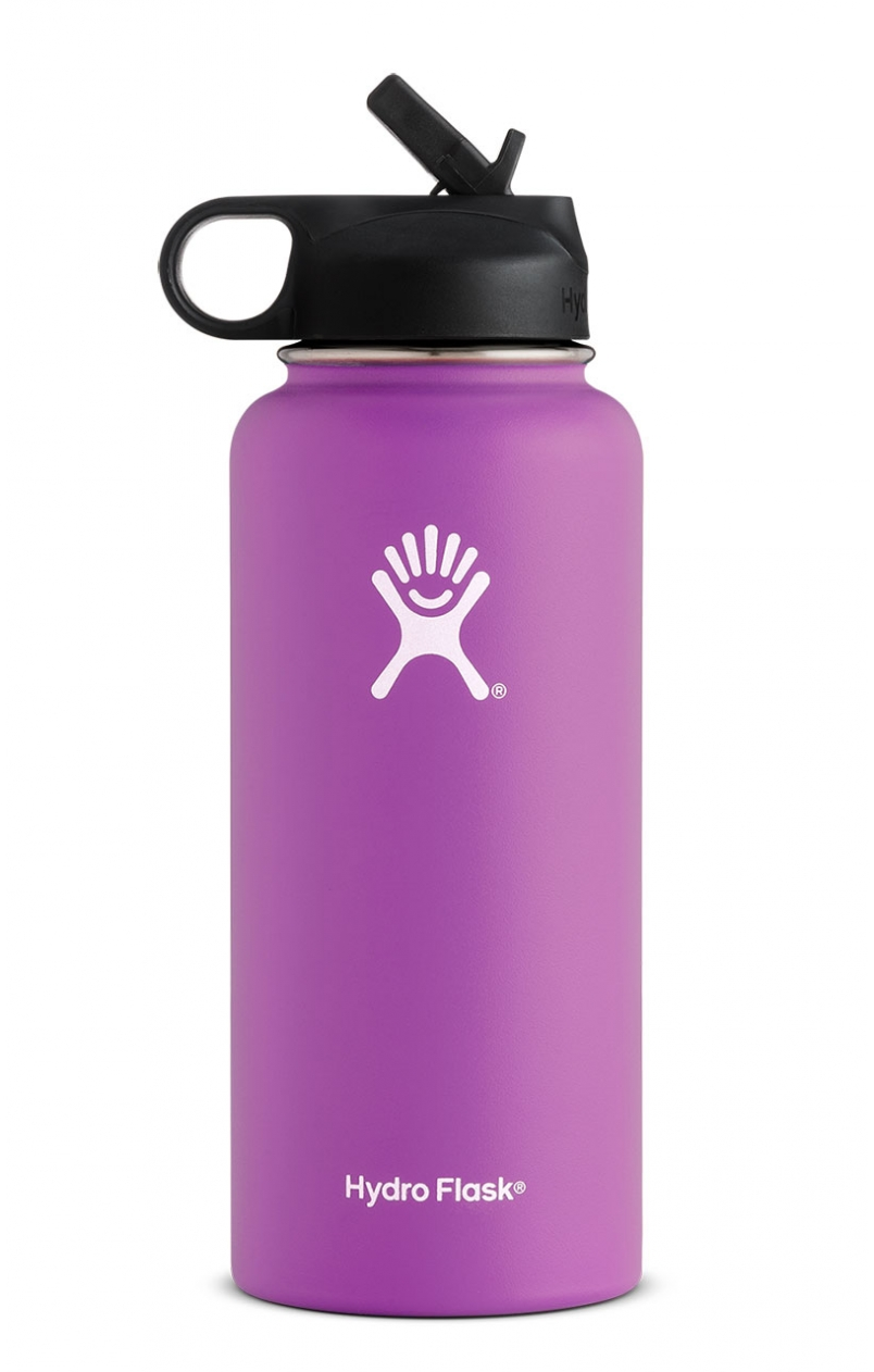 Hydro Flask 32oz Wide Mouth w Straw Cap Raspberry