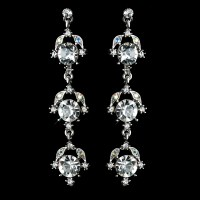 Antique Rhodium Silver Clear Rhinestone Dangle Earrings 1036