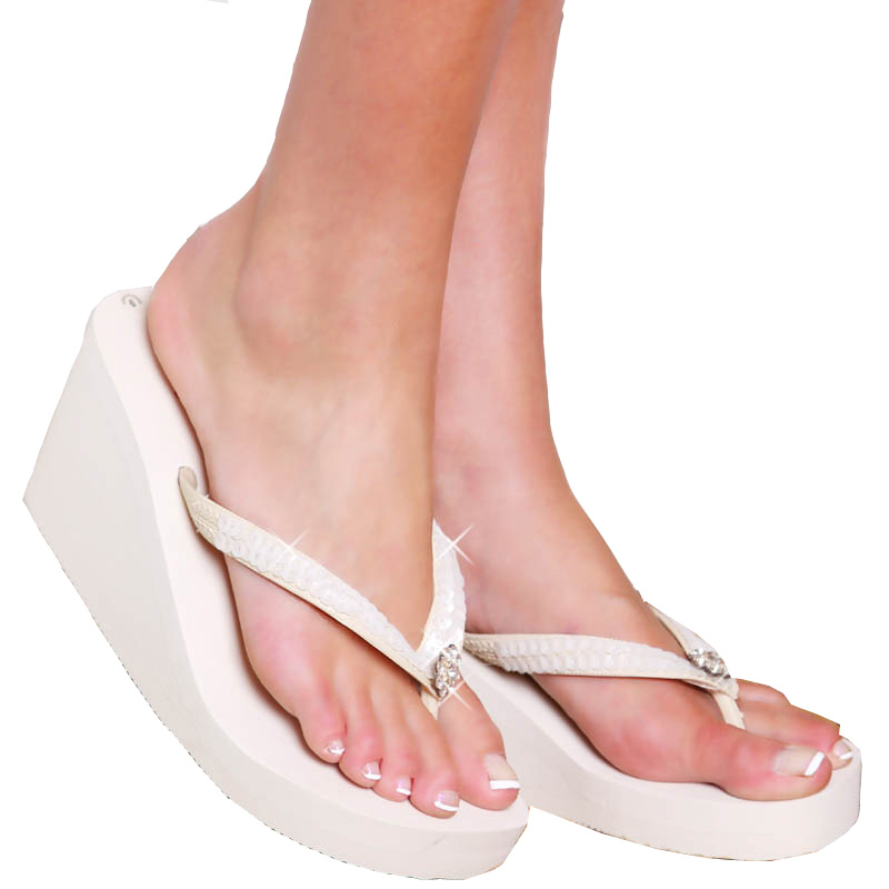 Breeze  Ivory High Wedge Bridal Flip Flops with Sequins  Crystals