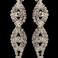 Silver Clear Rhinestone Long Dangle Earrings 4097