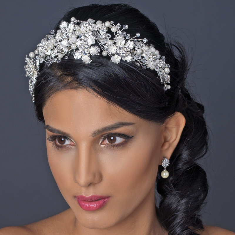 Silver Rhinestone Crystal Amp Diamond White Pearl Headpiece