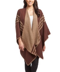 Womens Thick Warm Checkered Striped Poncho Blanket Wrap ...