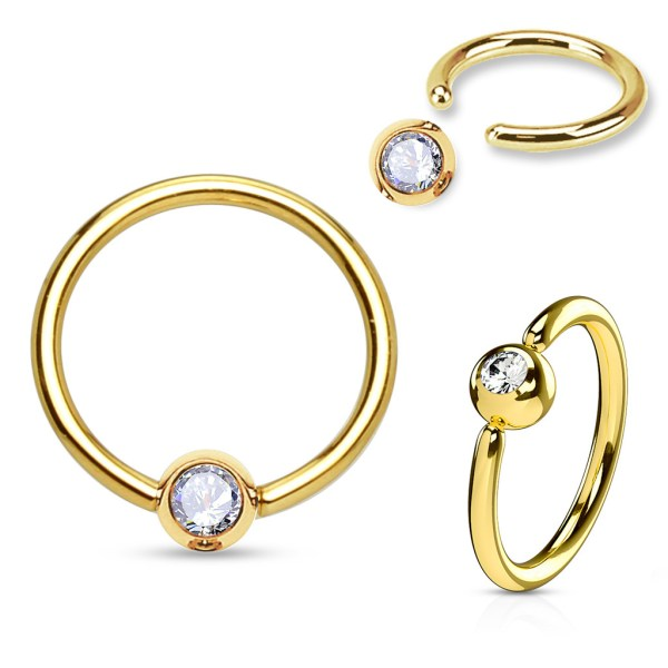 14k Solid Gold Hoop Ring With Gem Ball