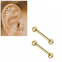 14K Solid Gold 16 Gauge Barbell for Tragus, Helix ...