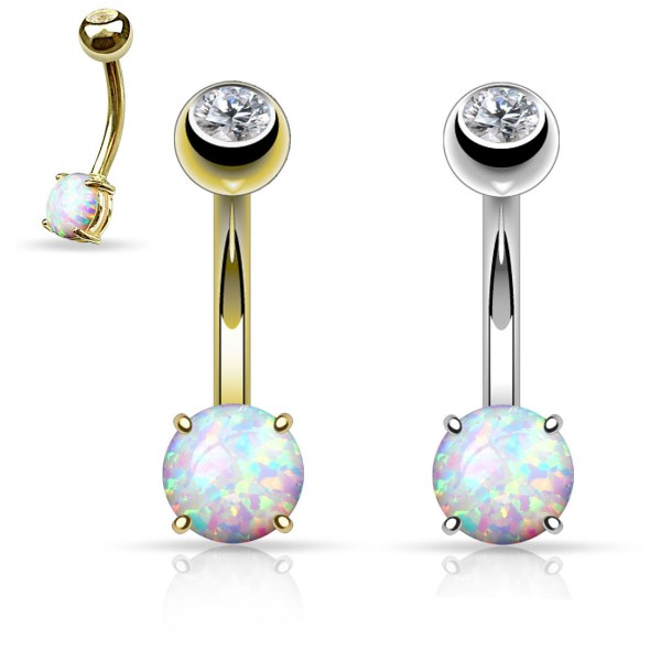14k Solid Gold 6mm Opal Stone Belly Button Ring