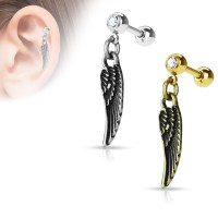 16 Gauge Angel Wing Dangle Tragus, Cartilage Barbell Earring