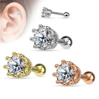 16 Gauge Crown Prong-Setting CZ Tragus, Cartilage Barbell ...