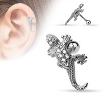 16 Gauge Jeweled Gecko Tragus, Cartilage Barbell Earring