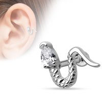 16 Gauge Jeweled Snake Tragus, Cartilage Barbell Earring