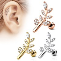 16 Gauge Pave Leaf Tragus, Cartilage, Helix Barbell Earring