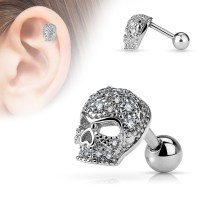 16 Gauge Paved Skull Tragus, Cartilage Barbell Earring