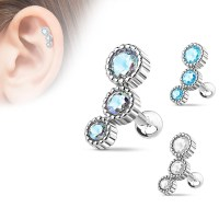 16 Gauge Round CZ Tragus, Cartilage Barbell Earring