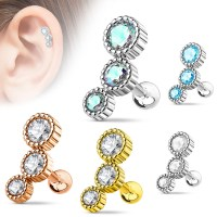 16 Gauge Round CZ Tragus, Cartilage, Helix Barbell Earring