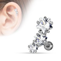 16 Gauge Triple Star Tragus, Cartilage Barbell Earring