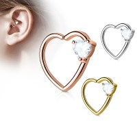 16 Gauge CZ Prong-Set Heart Daith, Cartilage, Tragus ...
