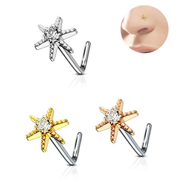 Of Stock 316l Jeweled Cz L-shaped Nose Ring - Starburst