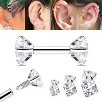 Double CZ Cartilage Stud Earring - Internally Threaded 16 ...
