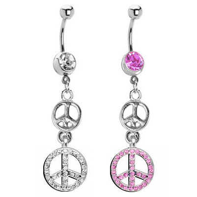 Jeweled Peace Belly Button Ring