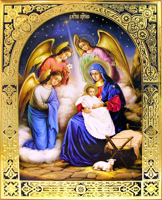 Nativity Of Christ Gold Silver Foil Embossed Icon At