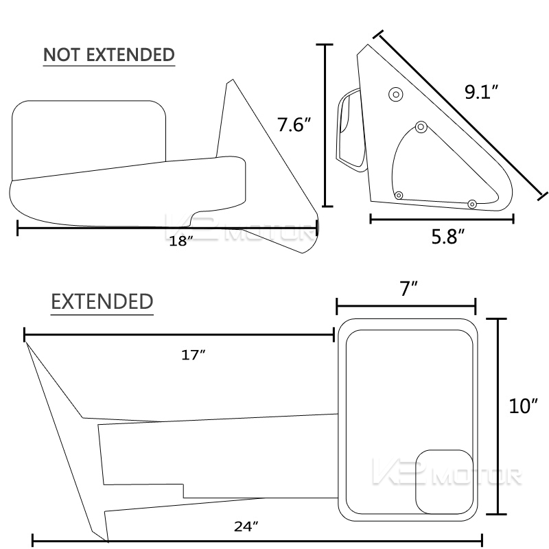 1994-2002 Dodge Ram Towing Side Mirrors (Manual)