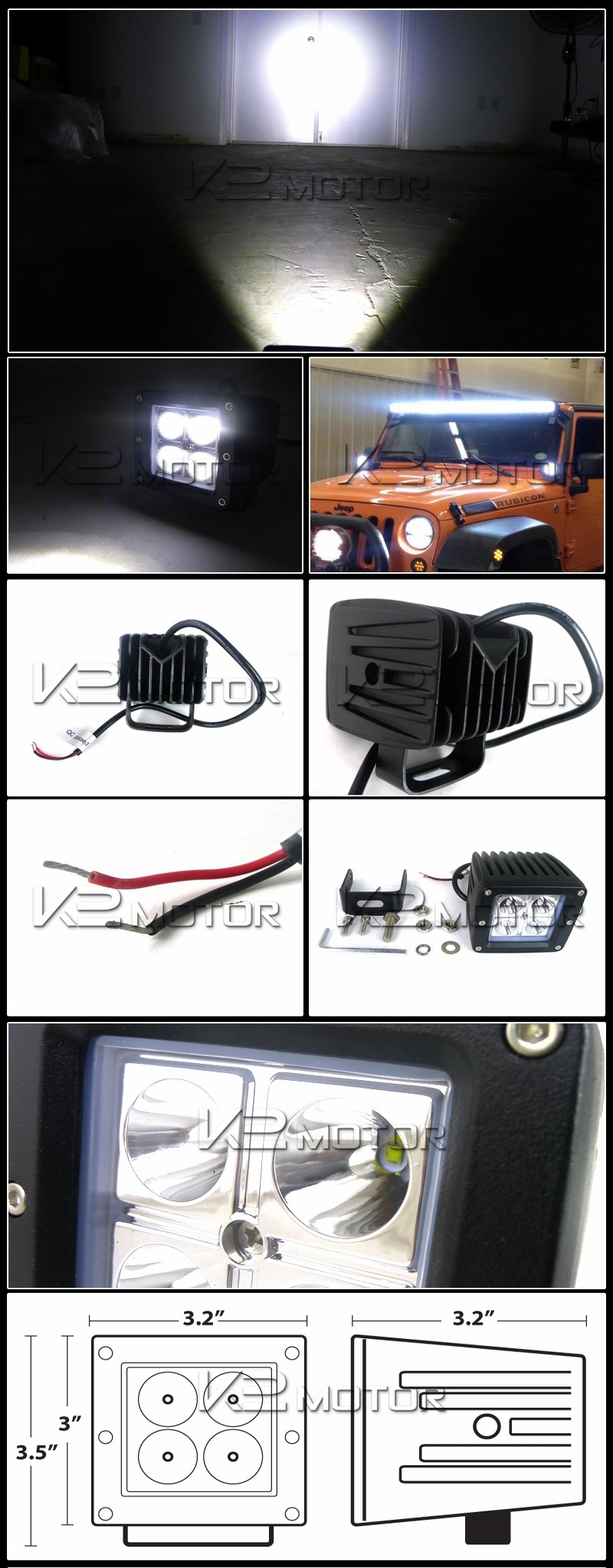 hight resolution of universal 4 led cube spot beam off road fog lights wiring harness 2 mounting bracket inset 1