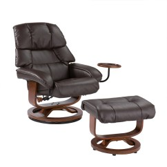 Modern Black Leather Recliner Chair Hire Covers Northern Ireland Bonded Swivel With Movable Side Table And Ottoman - Cafe Brown [up7673rc-fs-sent]
