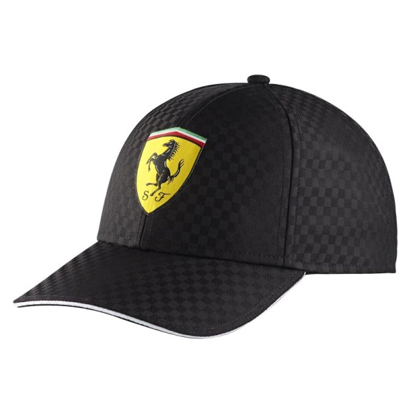 Authentic Ferrari Tsfb3513 Checkered Shield Hat - Black