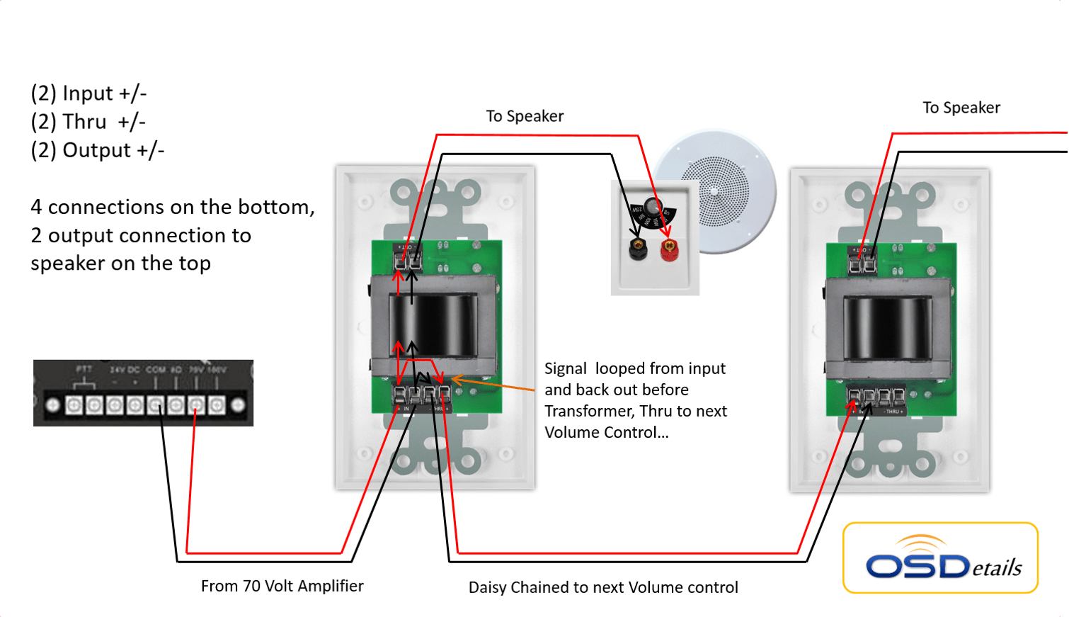 70v speaker wiring diagram ford can bus 25 watt commercial high power mono in-wall rotary style volume control w/thru output easy ...