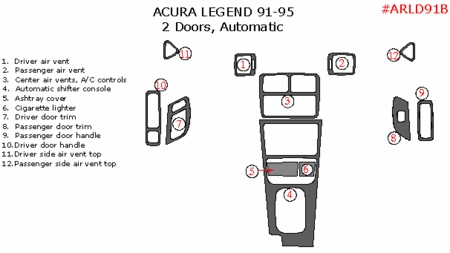 1991-1995 Acura Legend Coupe Basic Dash Trim Kit Auto