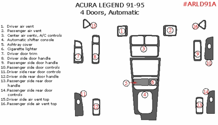 1991-1995 Acura Legend Sedan Basic Dash Trim Kit Auto