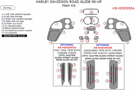 1998-2010 Harley Davidson Road Glide Main Dash Trim Kit