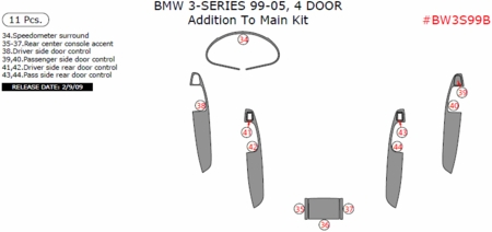 1999-2005 BMW 3 Series Addition to Main Trim Kit, 11 Pcs