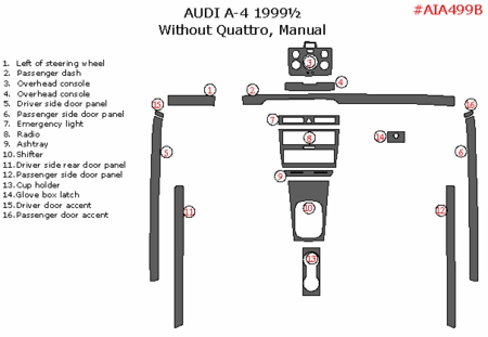 1999 1/2 Audi A-4 Main Dash Trim Kit, w/o Quattro, Manual