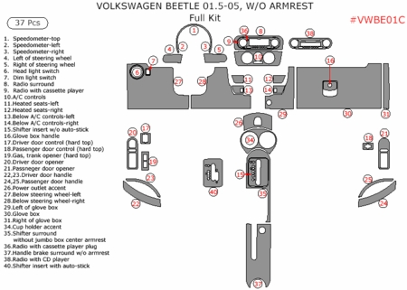 2001.5-2005 VW Beetle Full Dash Trim Kit, 37 Pcs, w/o Armrest