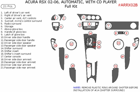 2002-2006 Acura RSX Full Dash Trim Kit, Automatic Auto