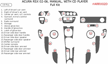 2002-2006 Acura RSX Full Dash Trim Kit, Auto Accessories