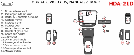 2003-2005 Honda Civic Coupe Main Dash Trim Kit, w/ Manual